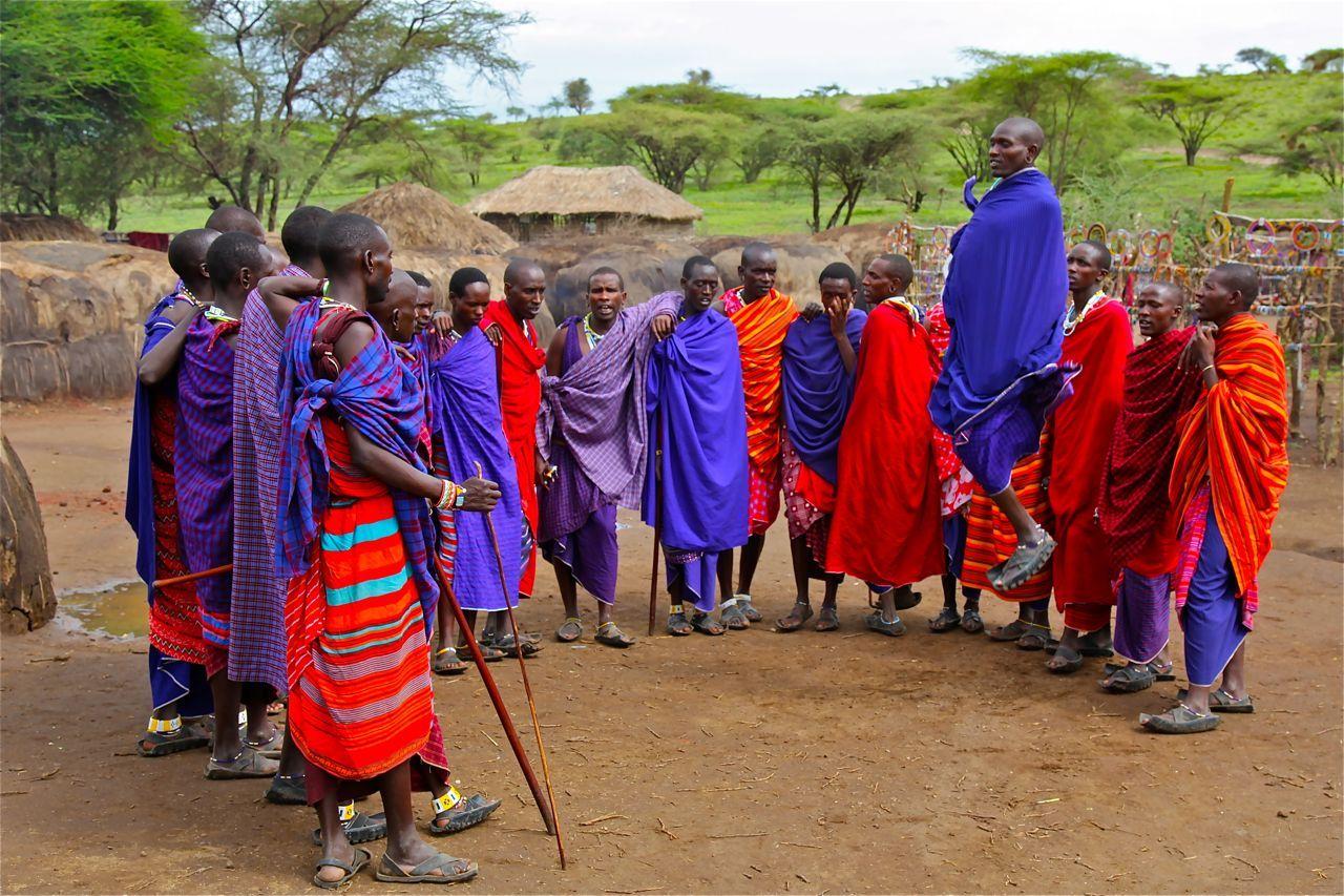 Maasai People in their village