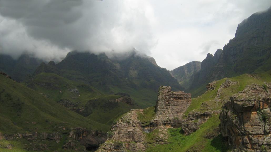 Drakensberg covered by mist