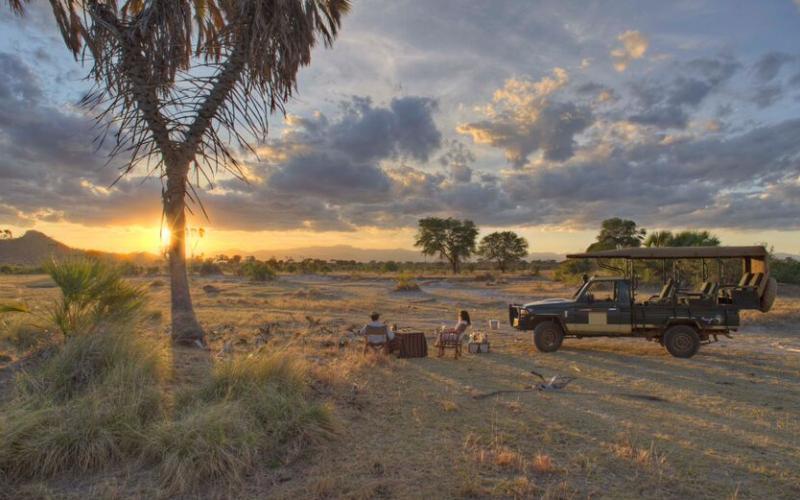 Sundowners in  Meru National Park while on safari in Kenya